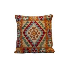 Handmade Kilim Rug Rose Cut Decorative Pillow, Bench Cushion Cover Oriental Rug