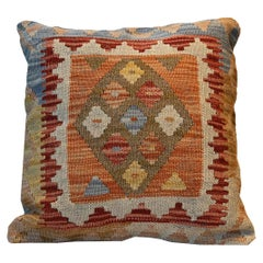Handwoven Rose Cut Decorative Pillow, Bench Cushion Cover Hand Knotted