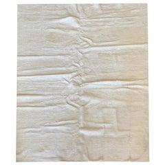 Handwoven Rug Plain Cream Indian Minimalist Carpet Wool Area Rug