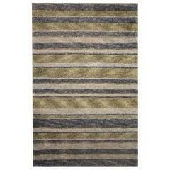 Handwoven Rug Small Modern Grey Striped Rug Wool Carpet Door Mat