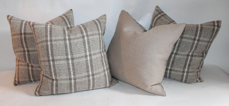 American Handwoven Saddle Blanket Pillows, Four For Sale