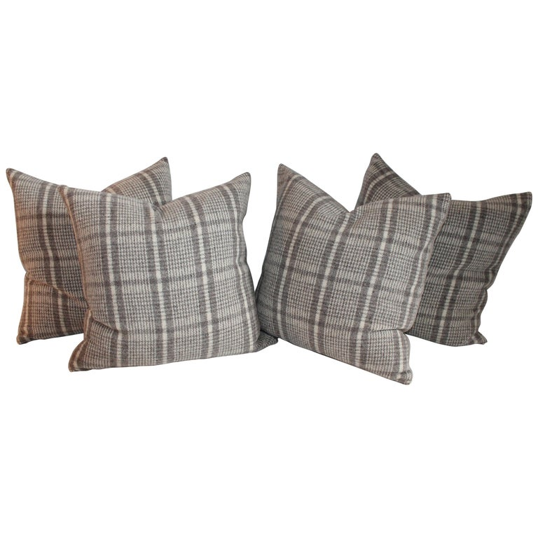 Handwoven Saddle Blanket Pillows, Four For Sale