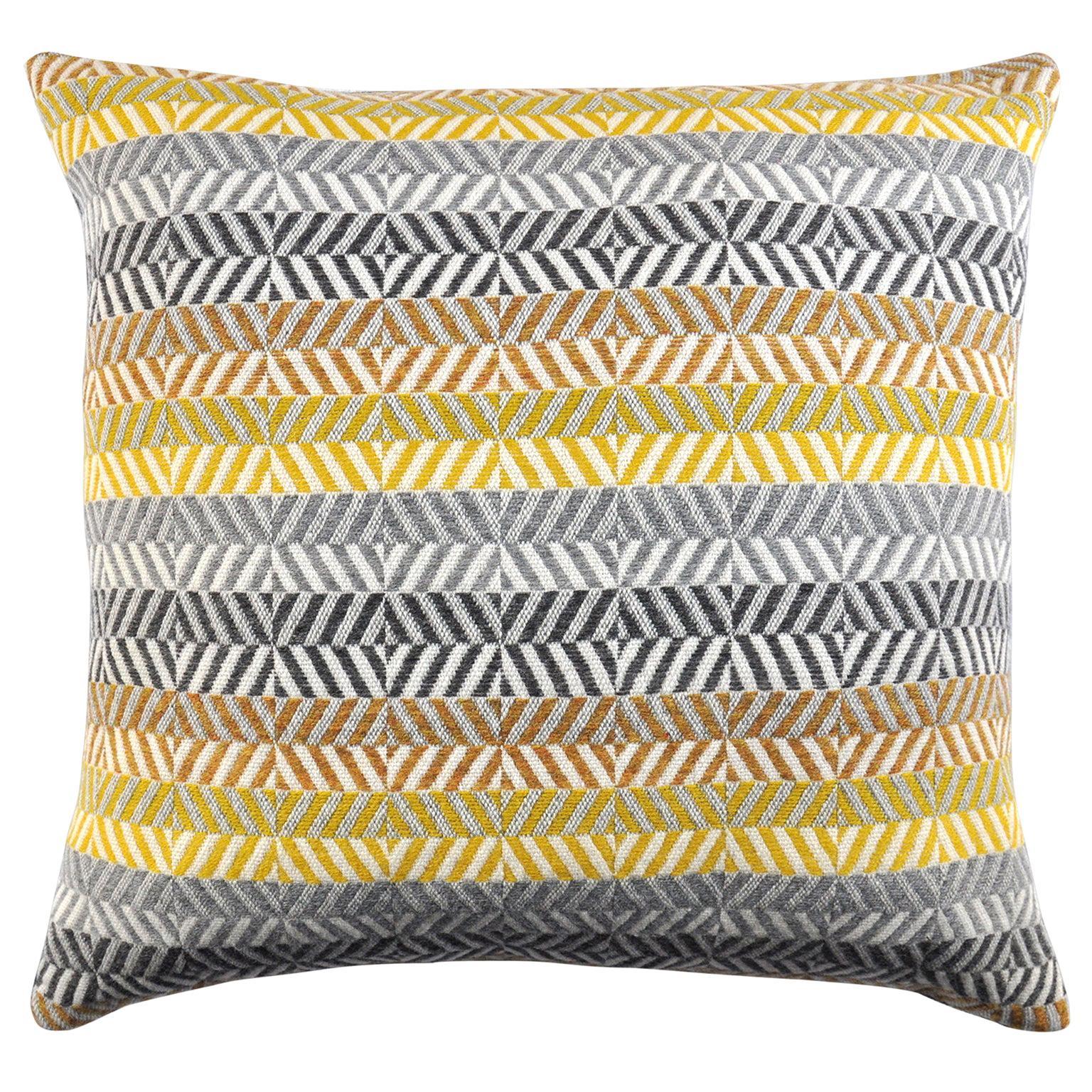 Handwoven 'Saint Gilles' Merino Wool Cushion Pillow, Piccalilli Yellow/Greys