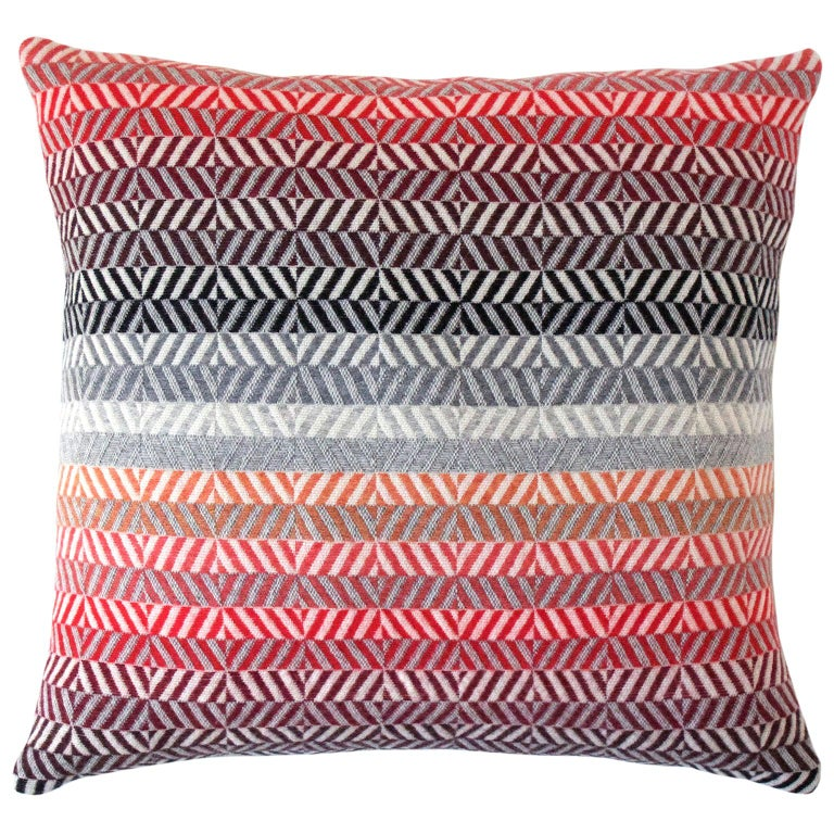 Handwoven 'Saint Gilles' Merino Wool Cushion Pillow, Red/Pink/Greys For Sale