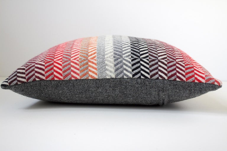 Hand-Woven Handwoven 'Saint Gilles' Merino Wool Cushion Pillow, Red/Pink/Greys For Sale