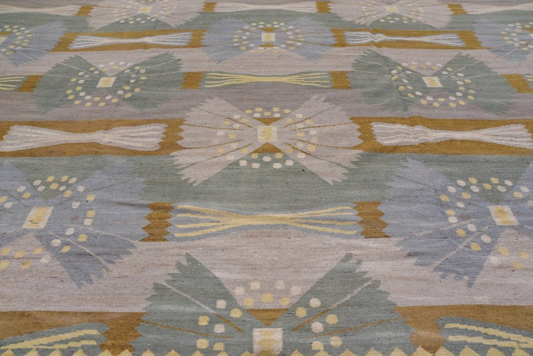 Scandinavian Modern Handwoven Scandinavian Design Kilim Large Rug, Gray Field, Blue & Green Accents For Sale