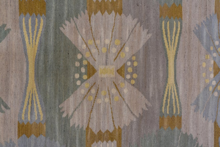 Hand-Woven Handwoven Scandinavian Design Kilim Large Rug, Gray Field, Blue & Green Accents For Sale