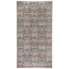 Handwoven Scandinavian Design Kilim Large Rug, Gray Field, Blue & Green Accents