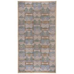 Handwoven Scandinavian Design Kilim Large Rug, Gray Field, Blue & Green Accents