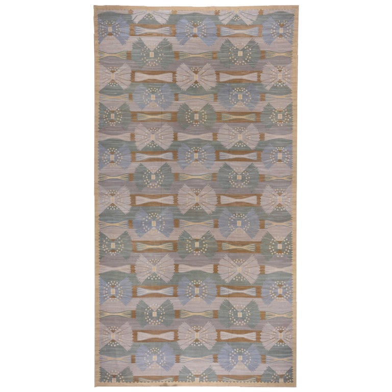 Handwoven Scandinavian Design Kilim Large Rug, Gray Field, Blue & Green Accents For Sale