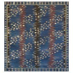 Handwoven Signed Swedish Mid-Century Wool Rug
