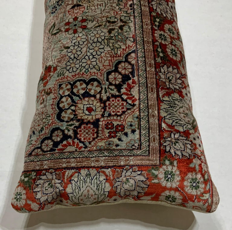 Exceptional pillow made of handwoven quality silk Chinese rug fragment, soft silk feel like velvet Beautiful motifs of flowers and vine, double silk backing, with fresh new quality insert.
