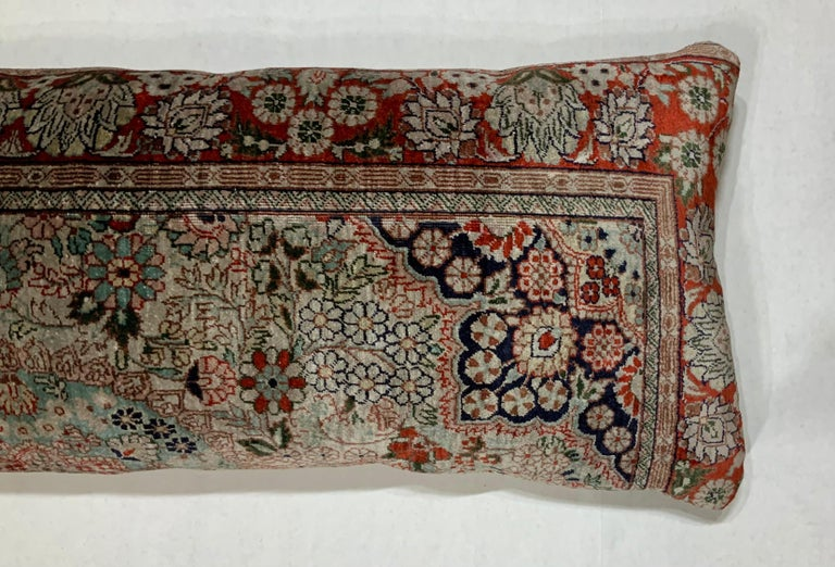 Hand-Knotted Handwoven Silk Pillow For Sale
