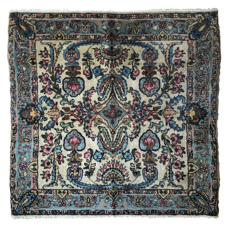 Handwoven Square Fine Wool Persian Rug For Sale
