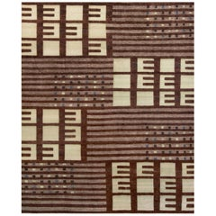 Handwoven Swedish Inspired Contemporary Wool Rug