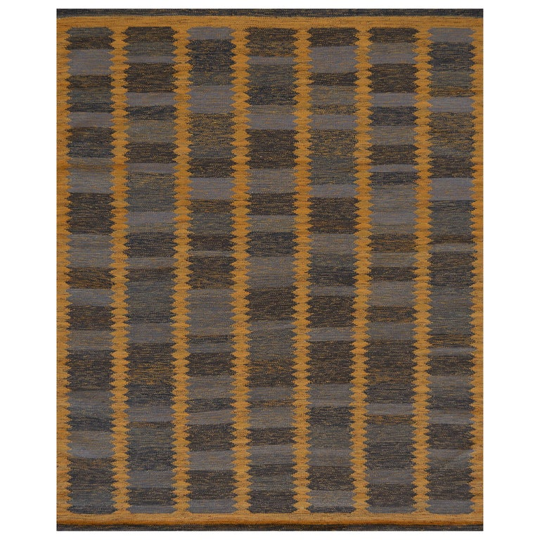 Handwoven Swedish Kilim Inspired Wool Rug For Sale