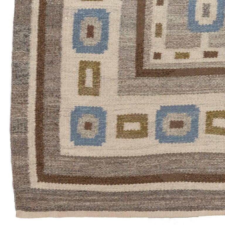 Scandinavian Modern Handwoven Swedish Wool rug in Flat-Weave signed V.J. For Sale