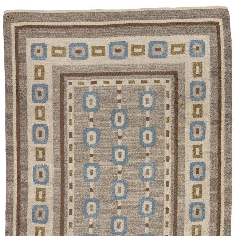 Handwoven Swedish Wool rug in Flat-Weave signed V.J. For Sale 1