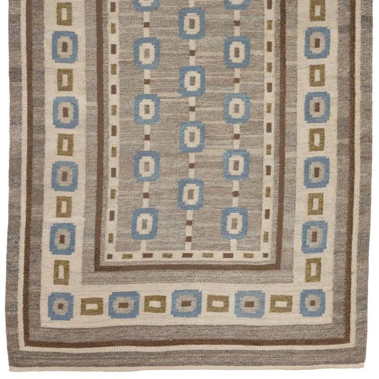 Handwoven Swedish Wool rug in Flat-Weave signed V.J. For Sale 2
