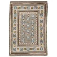 Handwoven Swedish Wool rug in Flat-Weave signed V.J.