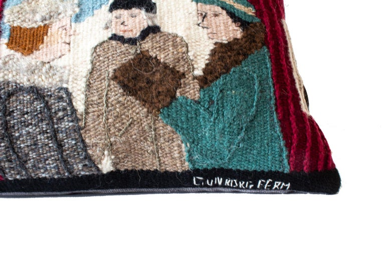 Folk Art Handwoven Tapestry Cushion Show a Local Motif by Swedish Artist Gunborg Ferm