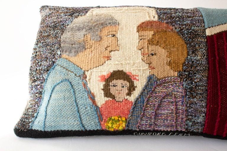 Hand-Woven Handwoven Tapestry Cushion Show a Local Motif by Swedish Artist Gunborg Ferm