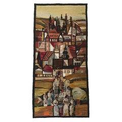 Handwoven Tapestry Gobelin Towers by Piotr Grabowski for Cepelia Poland 1982