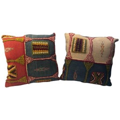 Handwoven Tribal Wool Vintage Kilim Cushion or Pillow, a Pair