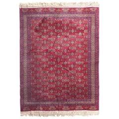 Handwoven Turkoman Armenian Wool and Silk Carpet, Mid-20th Century