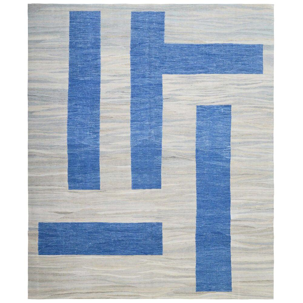 21th Century Modern Abstract Handwoven Two-Tone Kilim Carpet