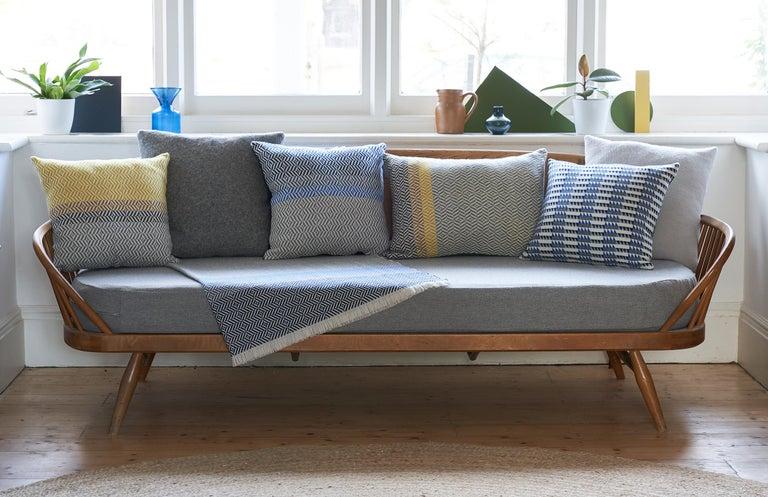 British Handwoven 'Uccle' Block Geometric Merino Wool Cushion Pillow, Grey/Blue/Indigo For Sale