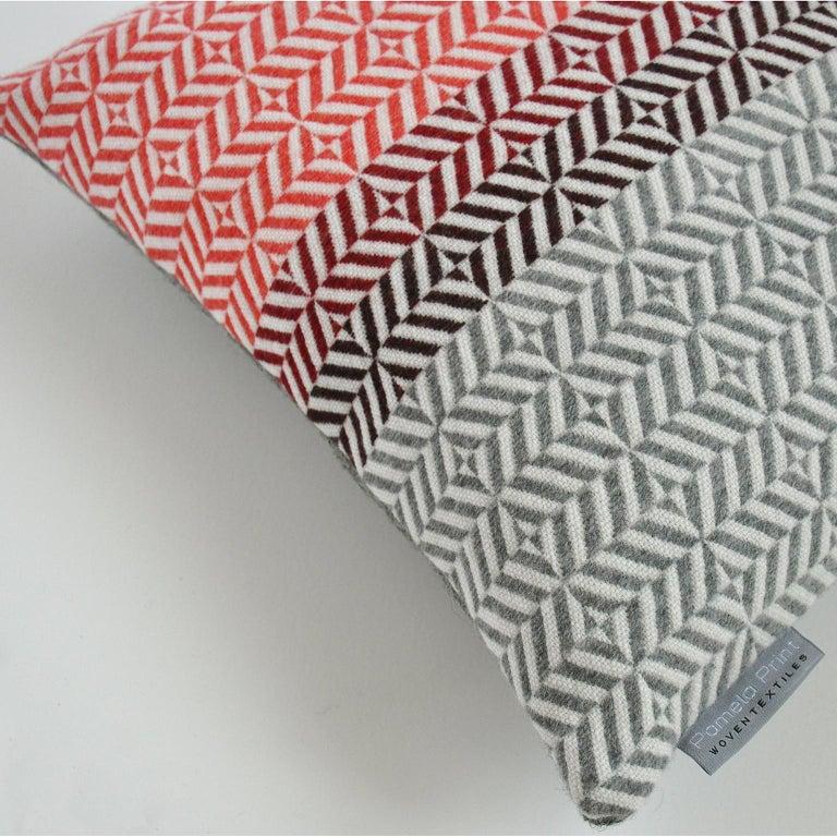 Mid-Century Modern Handwoven 'Uccle' Block Geometric Merino Wool Cushion Pillow, Papaya/Red/Grey For Sale