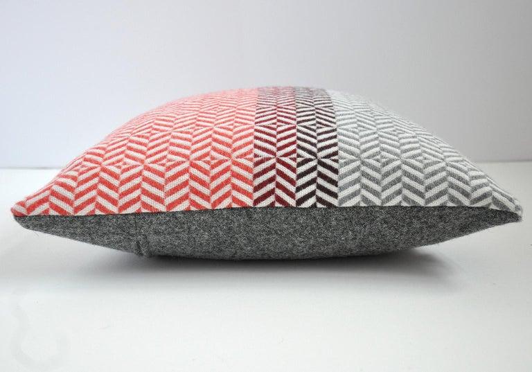 British Handwoven 'Uccle' Block Geometric Merino Wool Cushion Pillow, Papaya/Red/Grey For Sale