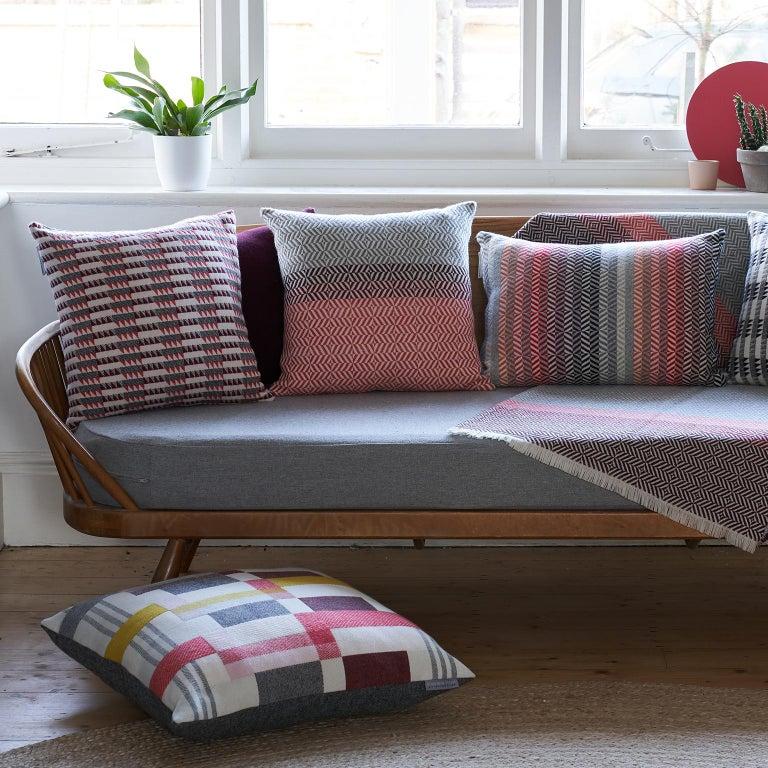 Hand-Woven Handwoven 'Uccle' Block Geometric Merino Wool Cushion Pillow, Papaya/Red/Grey For Sale