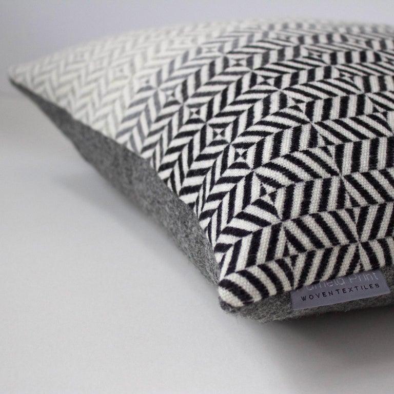 British Handwoven 'Uccle' Block Geometric Merino Wool Cushion Pillow, Pearl Grey For Sale