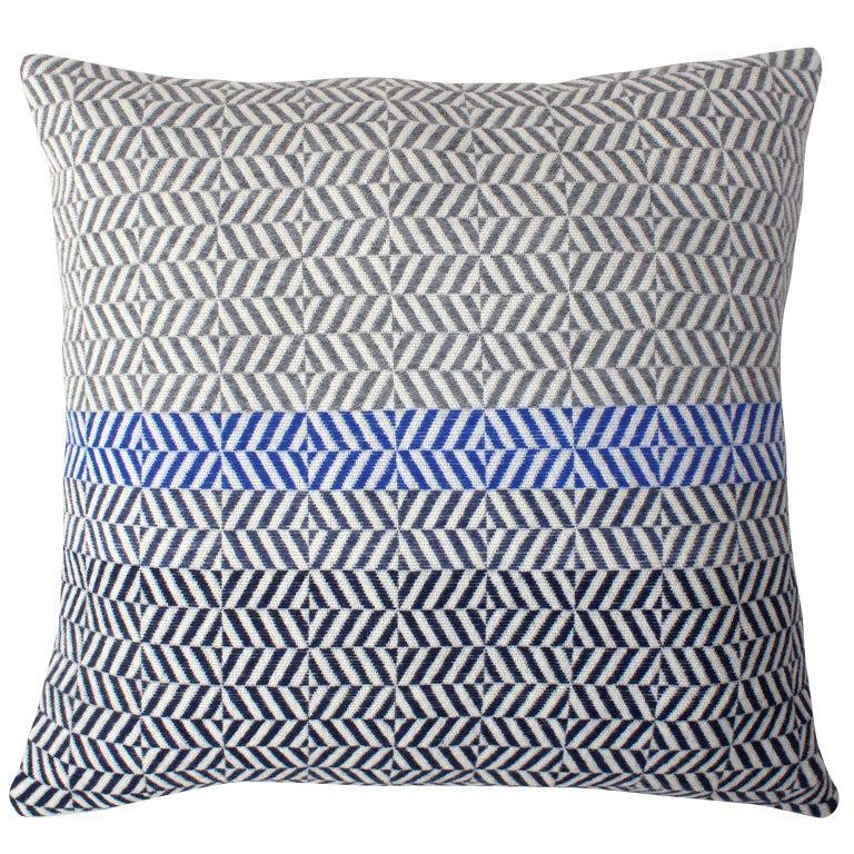 Handwoven 'Uccle' Block Geometric Merino Wool Cushion Pillow, Grey/Blue/Indigo For Sale