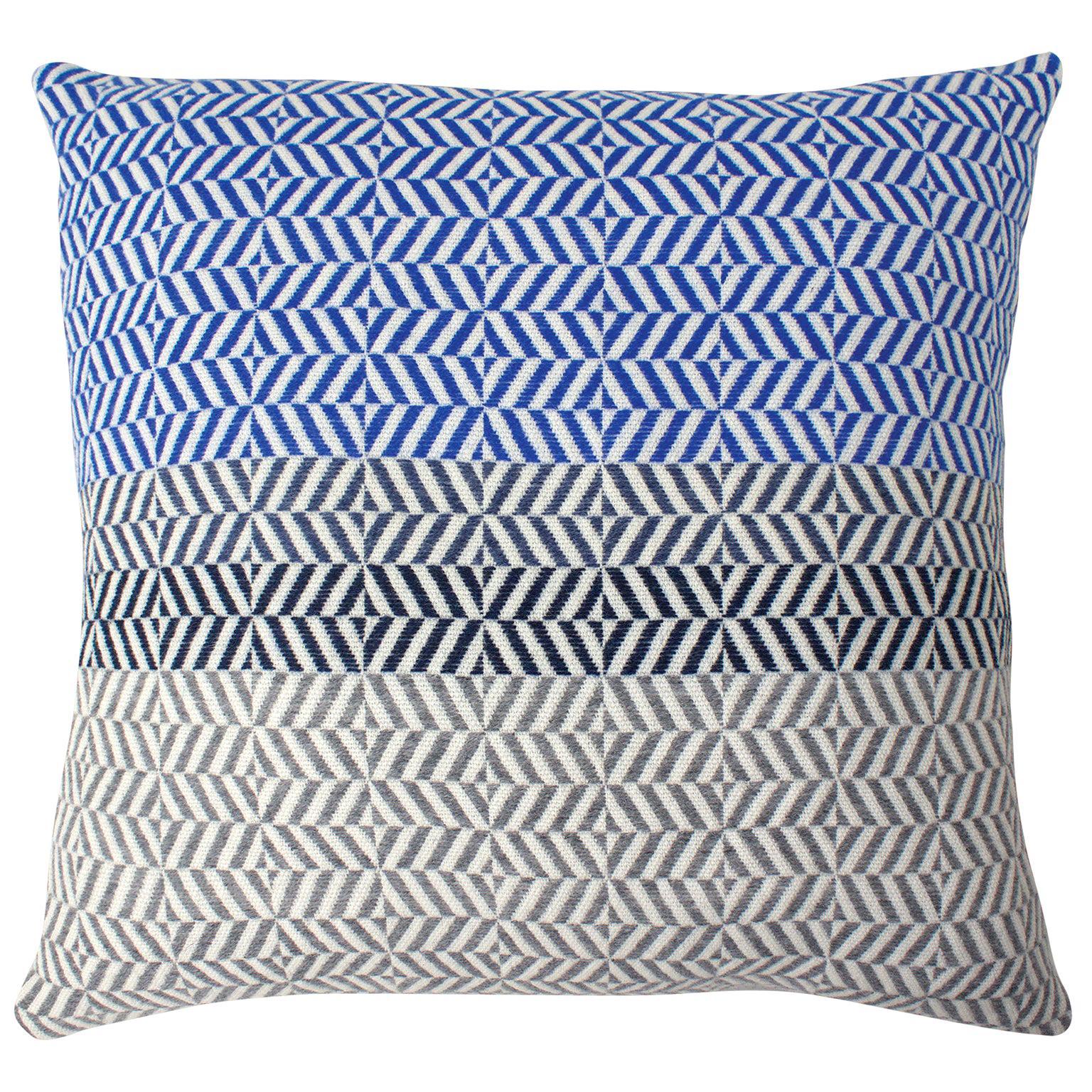 Handwoven 'Uccle' Block Geometric Merino Wool Cushion Pillow, Indigo/Blue/Grey