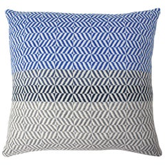 Handwoven 'Uccle' Block Geometric Merino Wool Cushion Pillow, Indigo/Blue/Grey