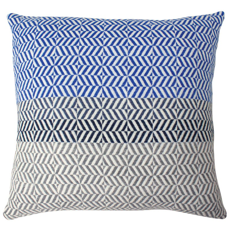 Handwoven 'Uccle' Block Geometric Merino Wool Cushion Pillow, Indigo/Blue/Grey For Sale
