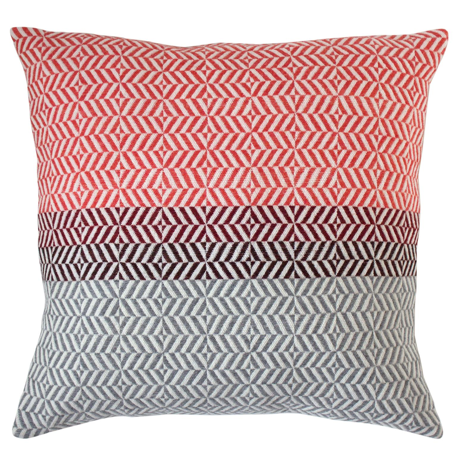 Handwoven 'Uccle' Block Geometric Merino Wool Cushion Pillow, Papaya/Red/Grey