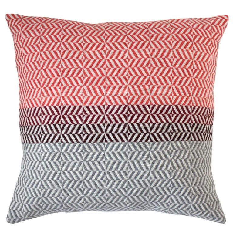 Handwoven 'Uccle' Block Geometric Merino Wool Cushion Pillow, Papaya/Red/Grey For Sale