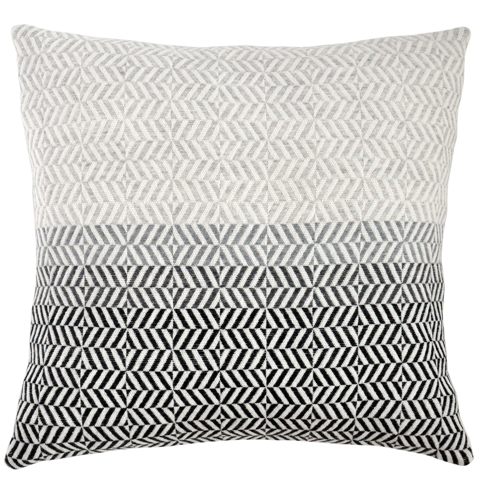Handwoven 'Uccle' Block Geometric Merino Wool Cushion Pillow, Pearl Grey