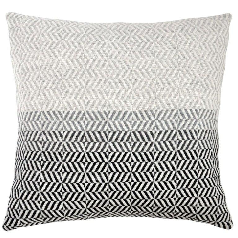 Handwoven 'Uccle' Block Geometric Merino Wool Cushion Pillow, Pearl Grey For Sale