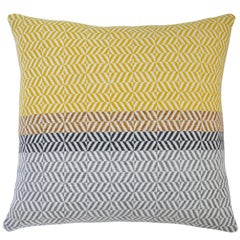 Handwoven 'Uccle' Block Geometric Merino Wool Cushion Pillow, Piccalilli / Grey