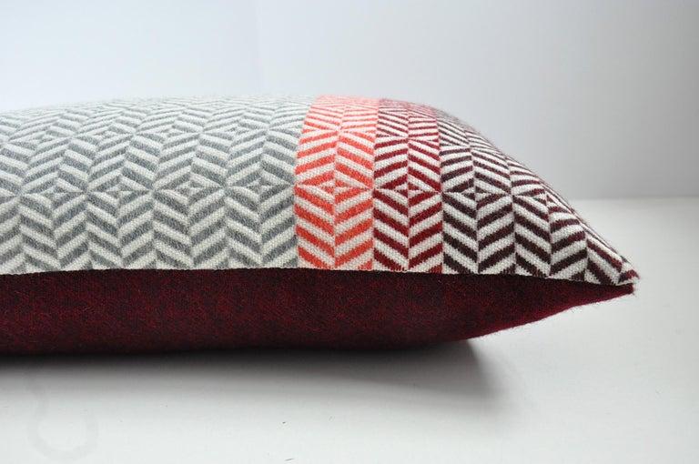 Mid-Century Modern Handwoven 'Uccle' Geometric Large Merino Wool Cushion Pillow, Papaya/Grey For Sale