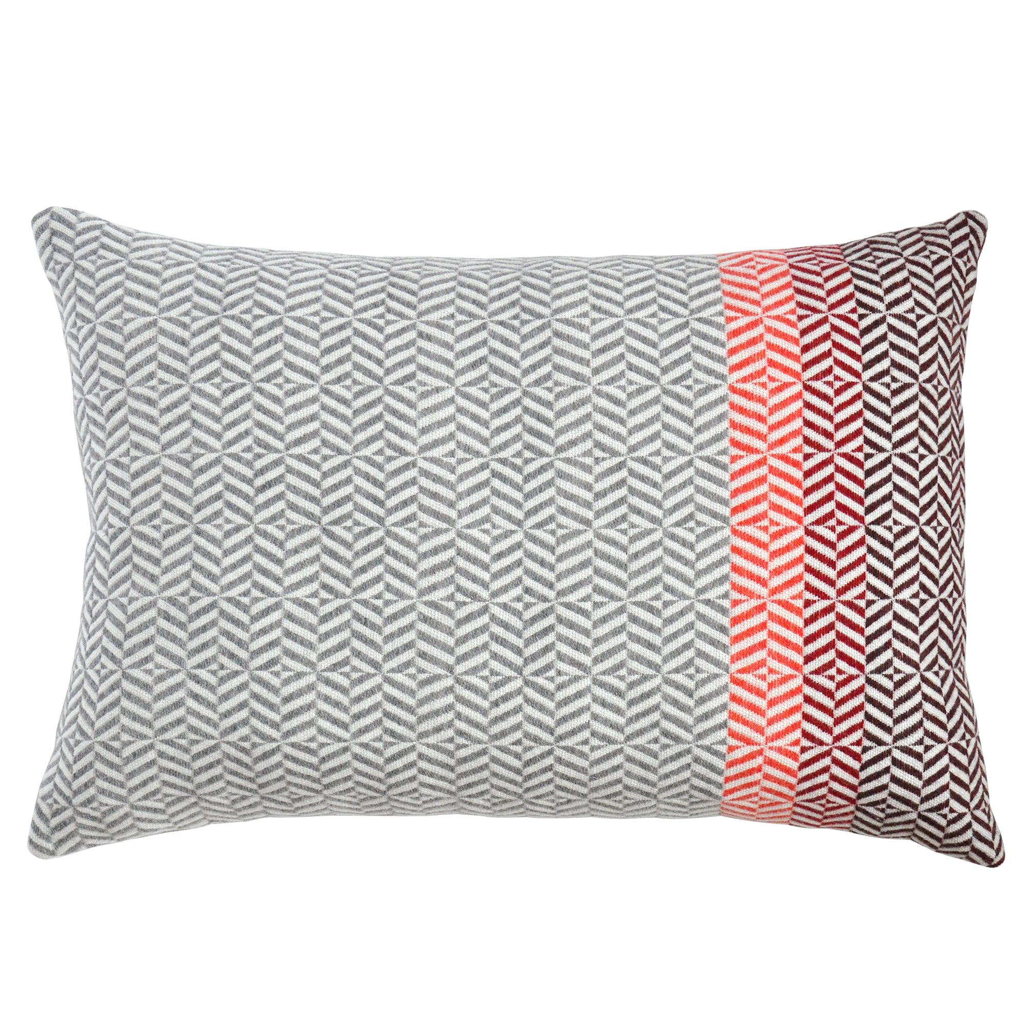 Handwoven 'Uccle' Geometric Large Merino Wool Cushion Pillow, Papaya/Grey