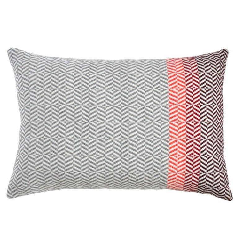 Handwoven 'Uccle' Geometric Large Merino Wool Cushion Pillow, Papaya/Grey For Sale