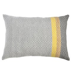 Handwoven 'Uccle' Geometric Large Merino Wool Cushion Pillow, Piccalilli/Greys