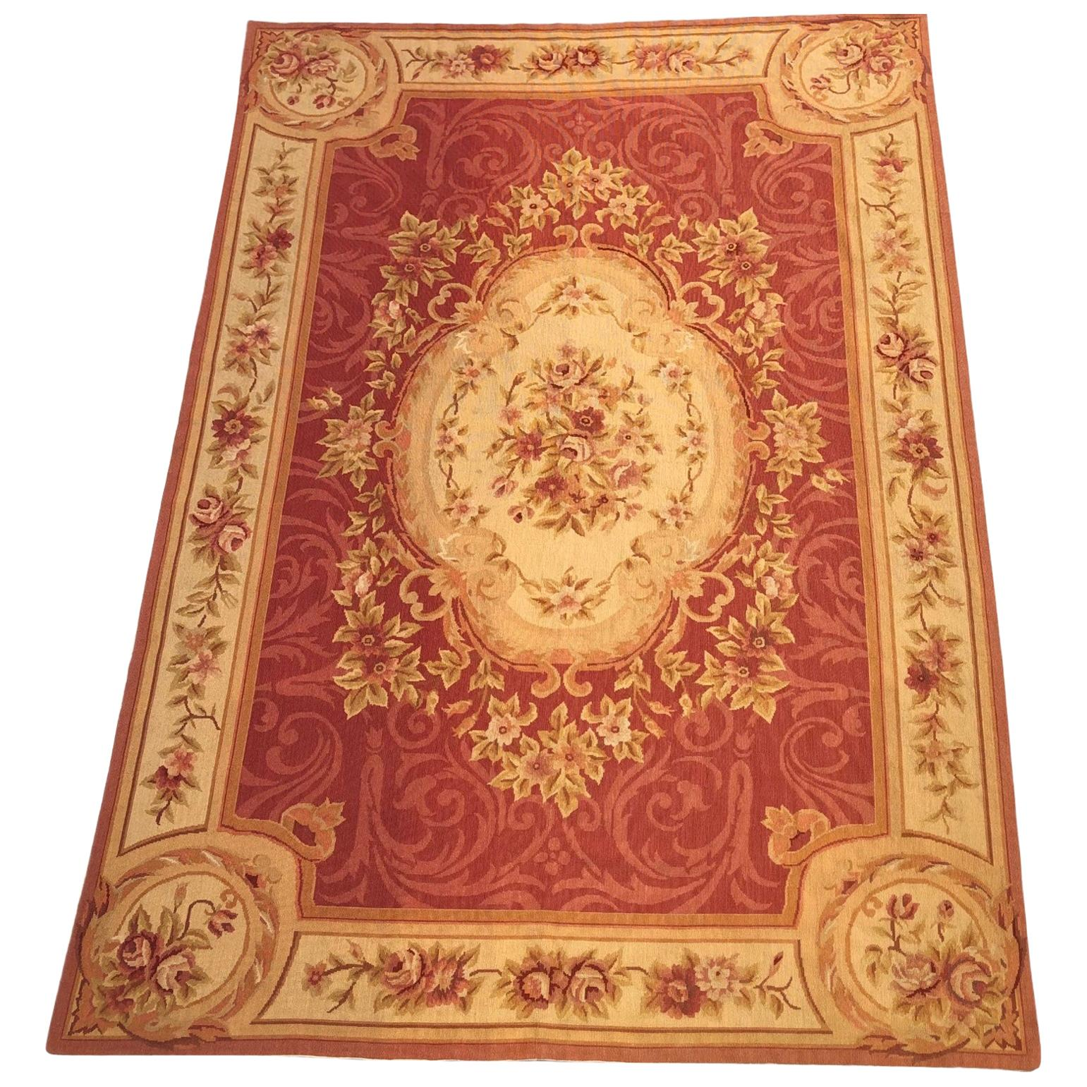 Handwoven Vintage French Aubusson Rug or Tapestry