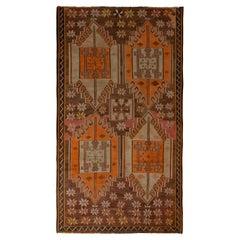 Handwoven Vintage Kars Kilim Rug in Brown and Orange Geometric Pattern